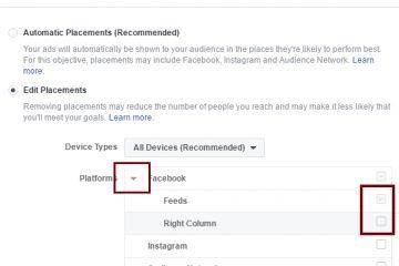 איך אני מפסיק לפרסם בטור שבצד בפייסבוק